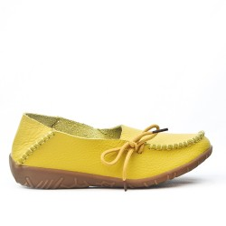 Comfort shoe yellow leather with lace