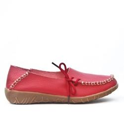 Chaussure confort rouge en cuir avec lacet