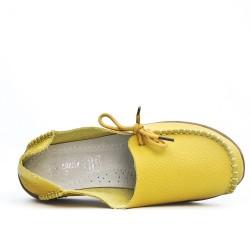Confort zapato de cuero amarillo con encaje