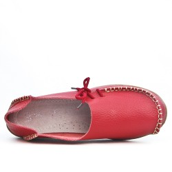 Red leather comfort shoe with lace