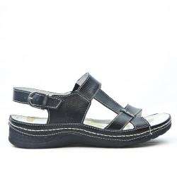 Sandale confort en cuir à bride bouclée