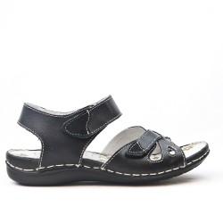 Sandale confort en cuir à fermeture scratch