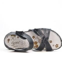 Disponible en 5 couleurs Sandale confort en cuir à fermeture scratch