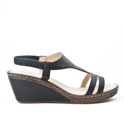 Sandale compensée en cuir