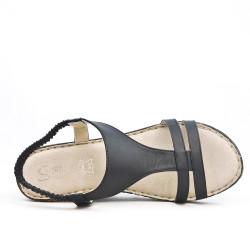Disponible en 5 couleurs Sandale compensée en cuir