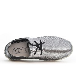 Gray tennis shiny leather lace-up