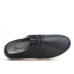 Zapatillas con cordones de cuero negras brillantes