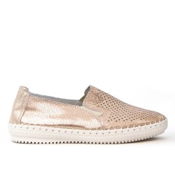Brilliant leather champagne tennis