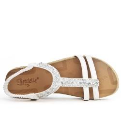 Sandale confort blanche ornée de strass