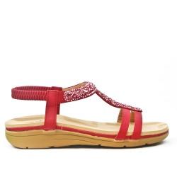 Sandale confort rouge ornée de strass