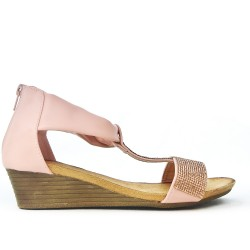 Sandale petit compensé rose ornée de strass