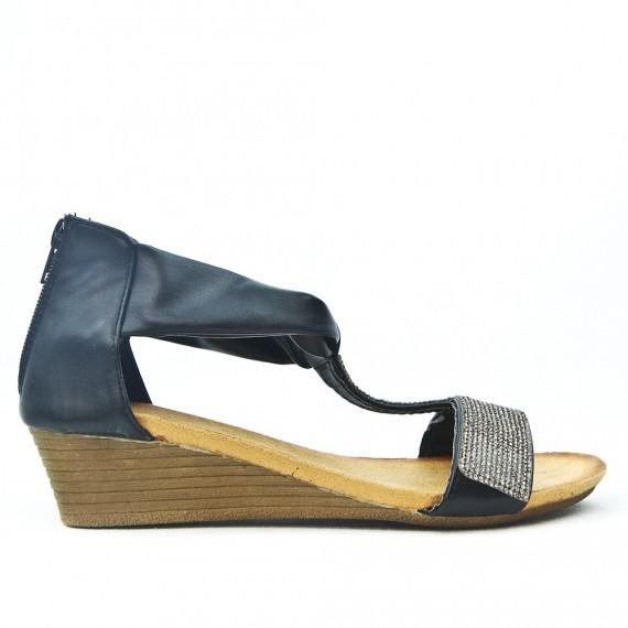 035fd309e99e Black wedge sandal with rhinestones