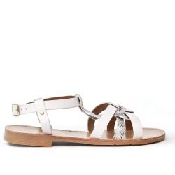 White flocked printed sandal