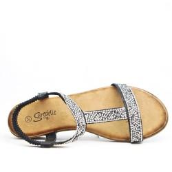Black wedge sandal with rhinestones