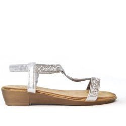 Small silver wedge sandal with rhinestones