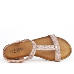Small champagne wedge sandal decorated with rhinestones