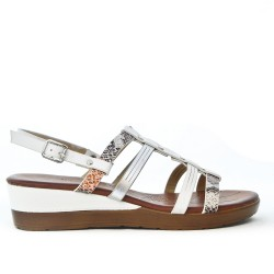 White multi-strap wedge sandal