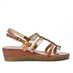 Camel wedge sandal with multi-strap