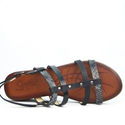 Sandale compensé noir à multi-bride