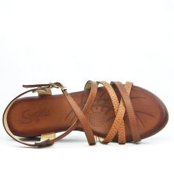 Sandale compensé camel à semelle confort