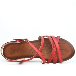 Red wedge sandal with comfort sole