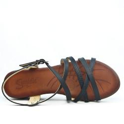 Sandale compensé noir à semelle confort