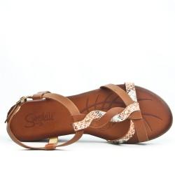 Camel Wedge Sandal with Printed Flange