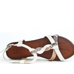 White wedge sandal with printed flange
