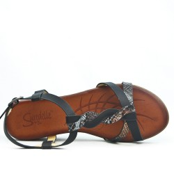 Sandale compensée noire à bride imprimée