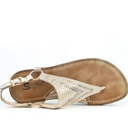 Golden comfort sandal with rhinestones
