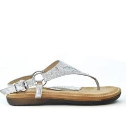 Sandale confort argent ornée de strass