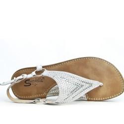 Silver comfort sandal with rhinestones