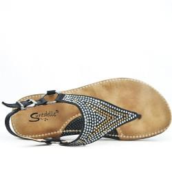 Sandale confort noir ornée de strass