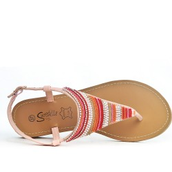 Pink Tong sandal with pearls