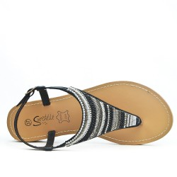 Black sandal sandal with pearls