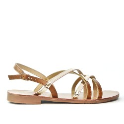 Camel flat sandal with crossed straps