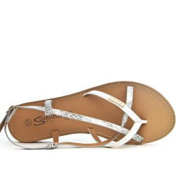 White flat sandal with shiny strap