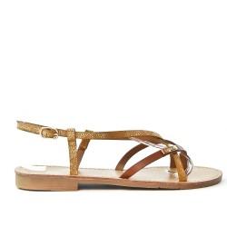 Camel flat sandal with shiny strap