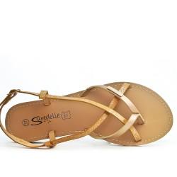 Beige flat sandal with shiny strap