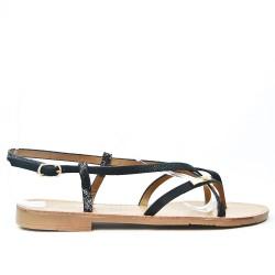 Black flat sandal with shiny strap
