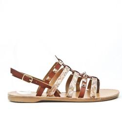 Camel flat sandal with studded flange