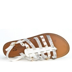 White flat sandal with studded bridle