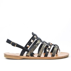 Black flat sandal with flange adorned with nails