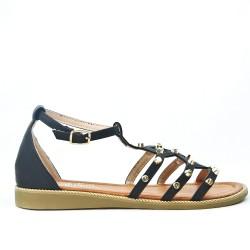 Black flat sandal with studs