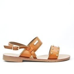 Camel flat sandal with gold beads