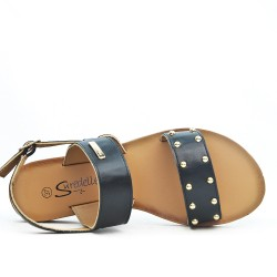 Black flat sandal with gold beads