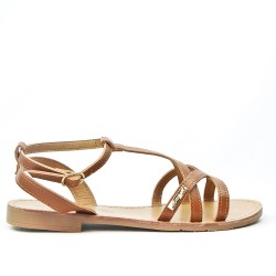 Camel flat sandal in leather