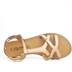 Champagne flat sandal in leather