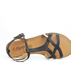 Black leather flat sandal