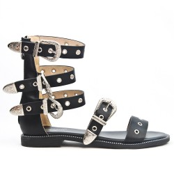 Black flat sandal with buckled bridle